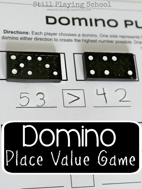 Place value math game for kids using dominoes