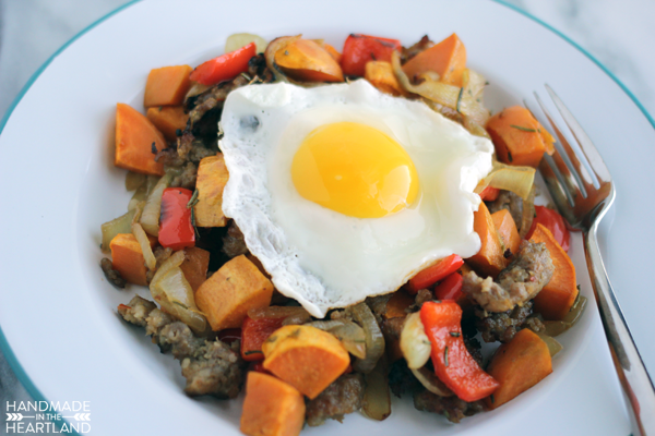 This is the most satisfying Sweet Potato & Sausage Breakfast Hash, Paleo Recipe ever.