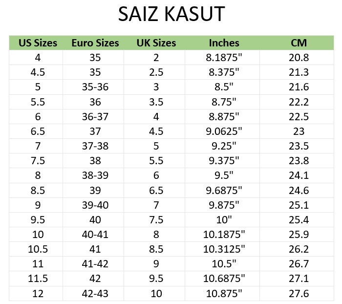 Saiz Kasut Malaysia