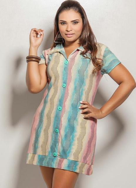 vestido listras coloridas para gordinhas