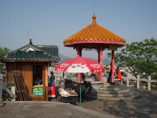 refreshment stand and pagoda on top of Bright Moon Peak