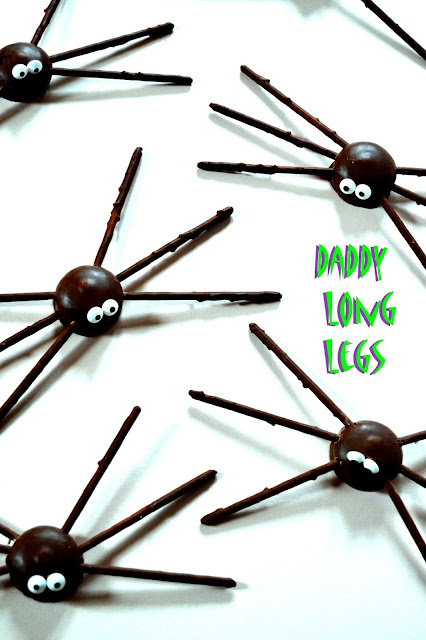 Teacakes and chocolate biscuit sticks made to look like a creepy crawly Halloween Treat