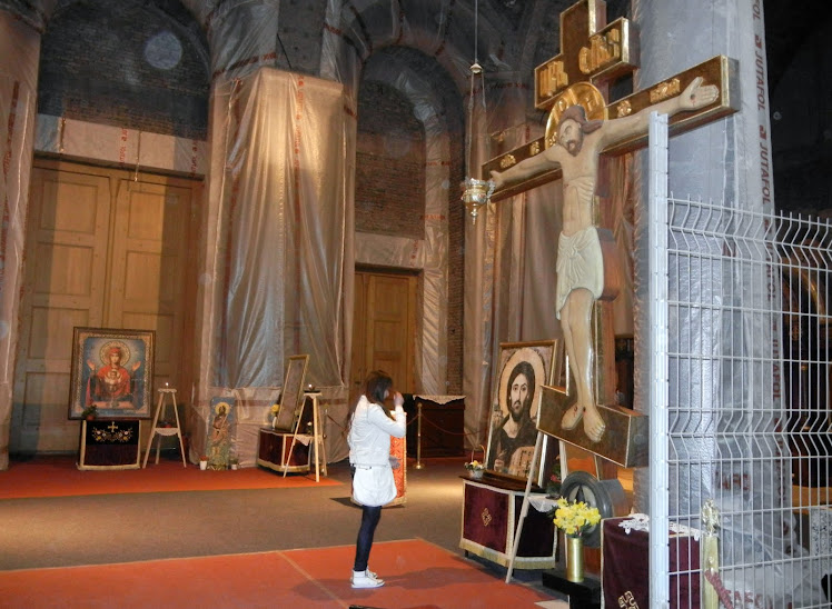 Inside the Cathedral of Saint Sava