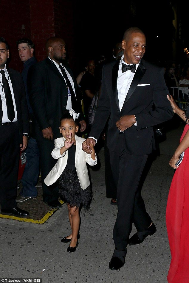 Blue Ivy stuns in suit as she steps out with daddy and mummy (Jay Z and Beyonce)