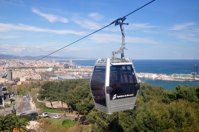 Passeio no Teleféric de Montjuic em Barcelona