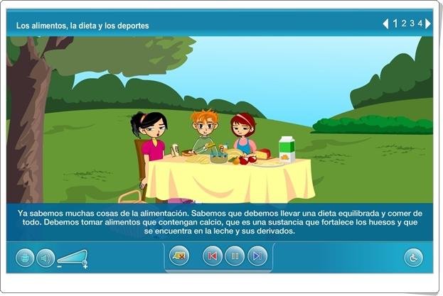 """""""Los alimentos, la dieta y los deportes"""" (Aplicación interactiva de Ciencias Naturales de Primaria)"""