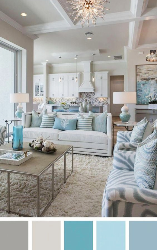 Coastal Living Room Aqua Blue Creme Beige Color Palette