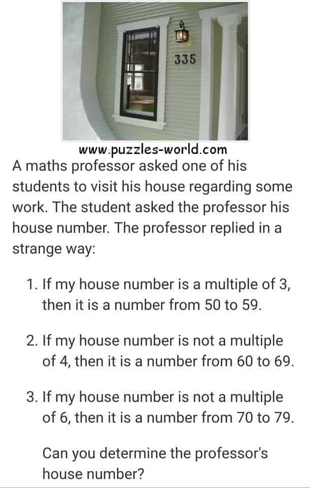 Professors house number puzzle