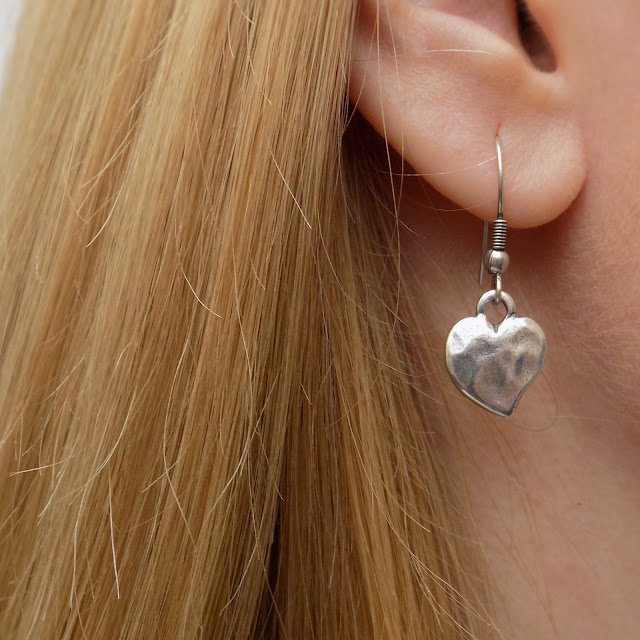 Danon silver heart drop earrings, from Lizzy O boutique