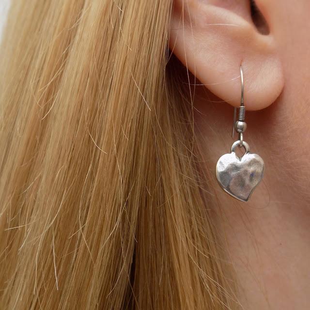 Danon silver heart drop earrings, from Lizzy O boutique