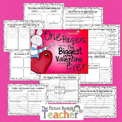 One Pager activities for the book The Biggest Valentine Ever by Steven Kroll.