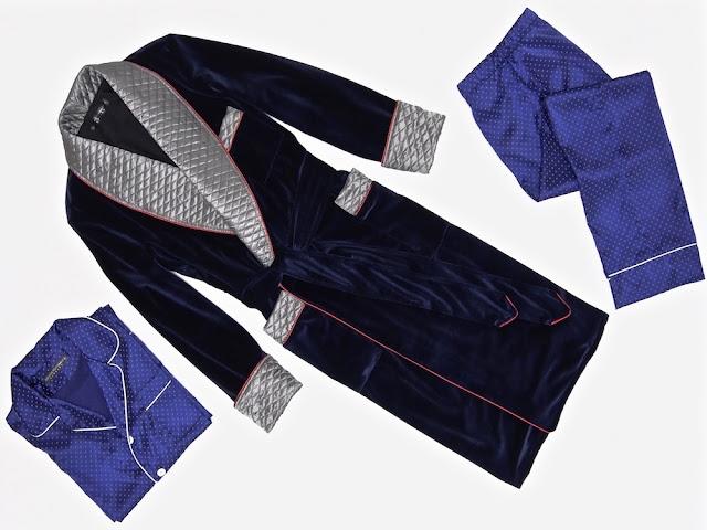 Mens velvet dressing gown quilted silk smoking jacket robe