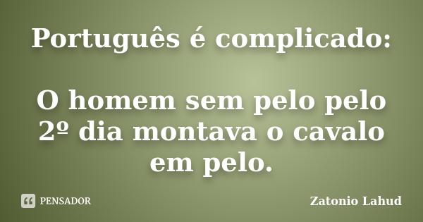 Português é complicado:   O homem sem pelo pelo 2º dia montava o cavalo em pelo.