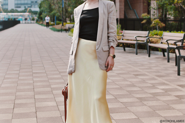 Japanese fashion Blogger,MizuhoK,20190601OOTD,ZARA=jacket,skirt,hair pin, Bershka=mules, Rakuten=bag, forever21=necklace, NIXON= watch