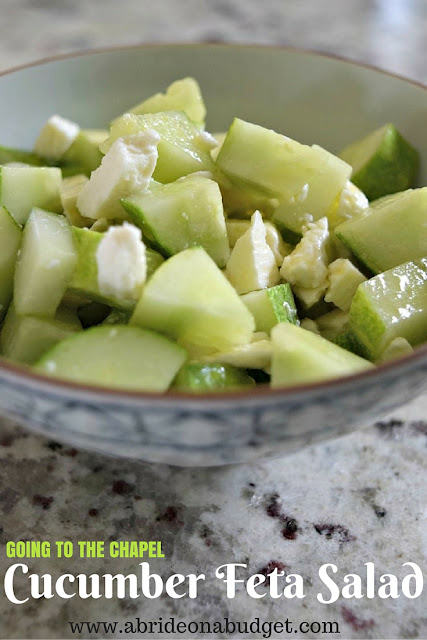 Want a yummy summer salad recipe? Give this Going To The Chapel Cucumber Feta Salad a try! Get the recipe at www.abrideonabudget.com.