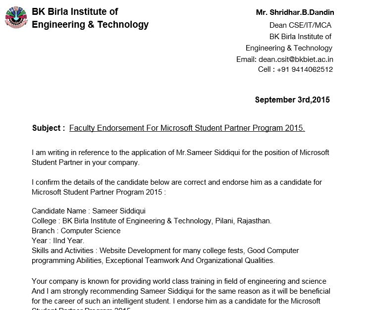 Letter Of Recommendation For Student: Microsoft Student Partner Program : A Beautiful Journey