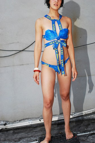 Bikini made from an IKEA bag