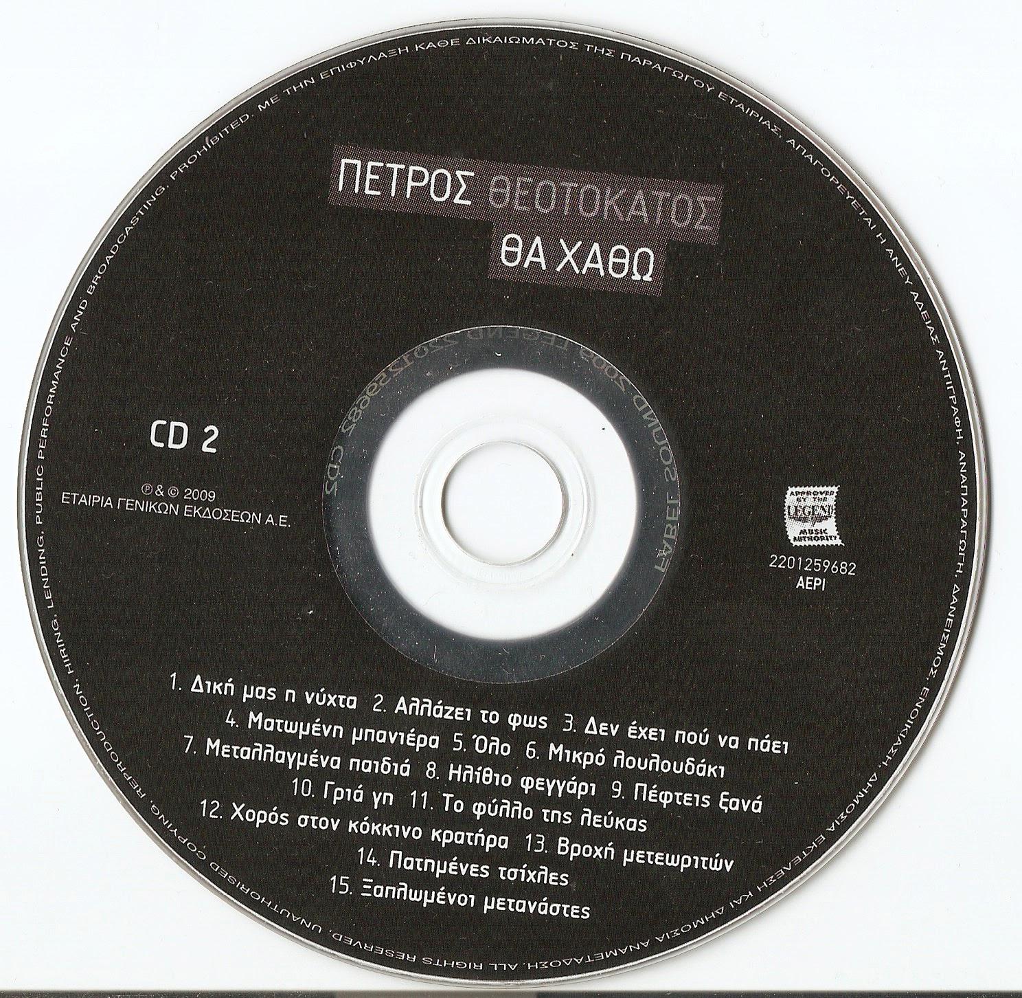 ΠΕΤΡΟΣ ΘΕΟΤΟΚΑΤΟΣ - ΘΑ ΧΑΘΩ cd greek rock 2