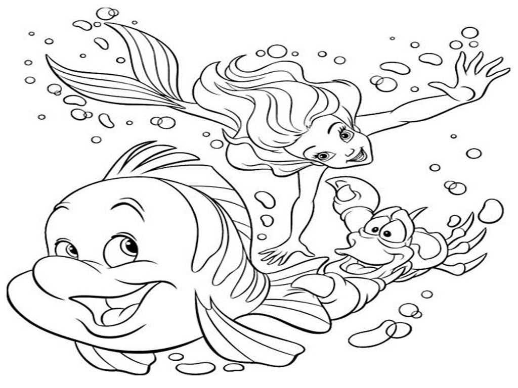 disney little mermaid under the sea coloring pages to print