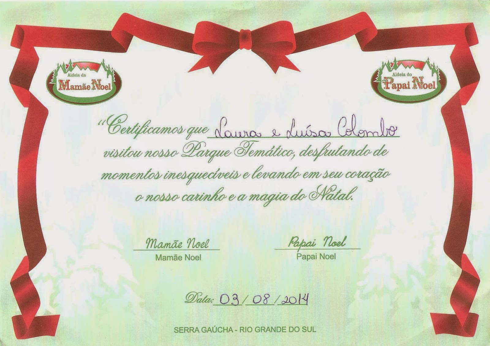 Certificado da Aldeia do Papai Noel - Gramado - RS