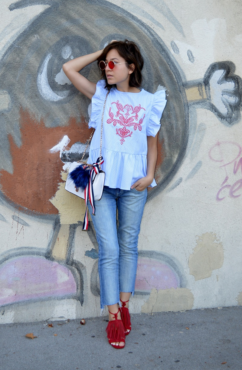 outfit red and blue - shein
