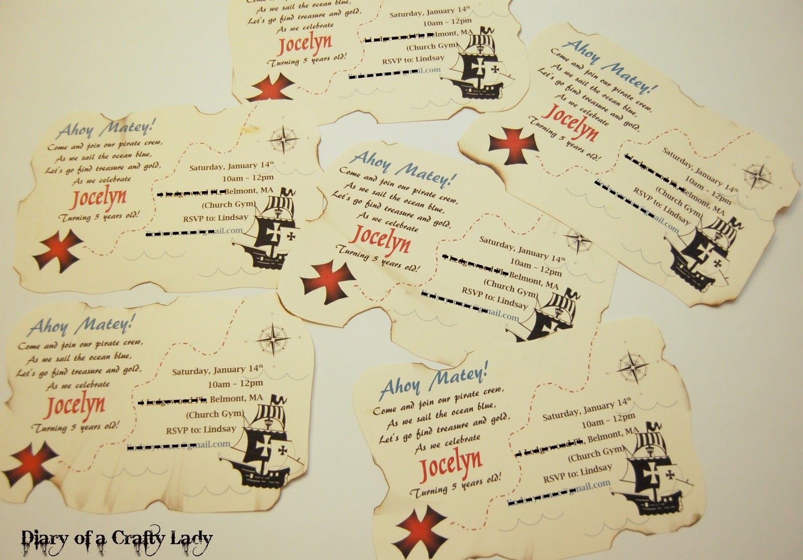 Diary of a Crafty Lady: Pirate Party Part 5: Invitations,Thank You ...