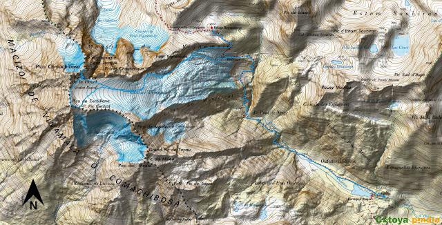 Map IGN de la ruta señalizada al Pico Vignemale