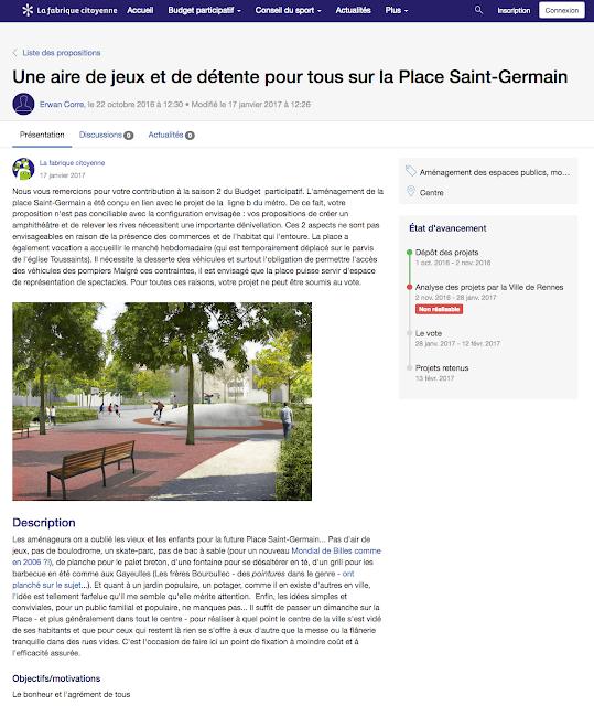 La réponse du jury concernant la proposition : Une aire de jeux et de détente pour tous sur la Place Saint-Germain