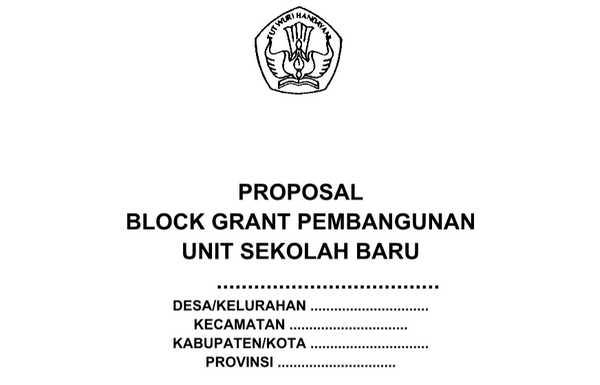 Contoh Proposal Block Grant Pembangunan Unit Sekolah Baru (USB)