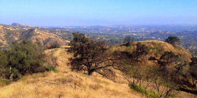 View southeast from Glendora Mountain Road at the top Colby Trail in Glendora