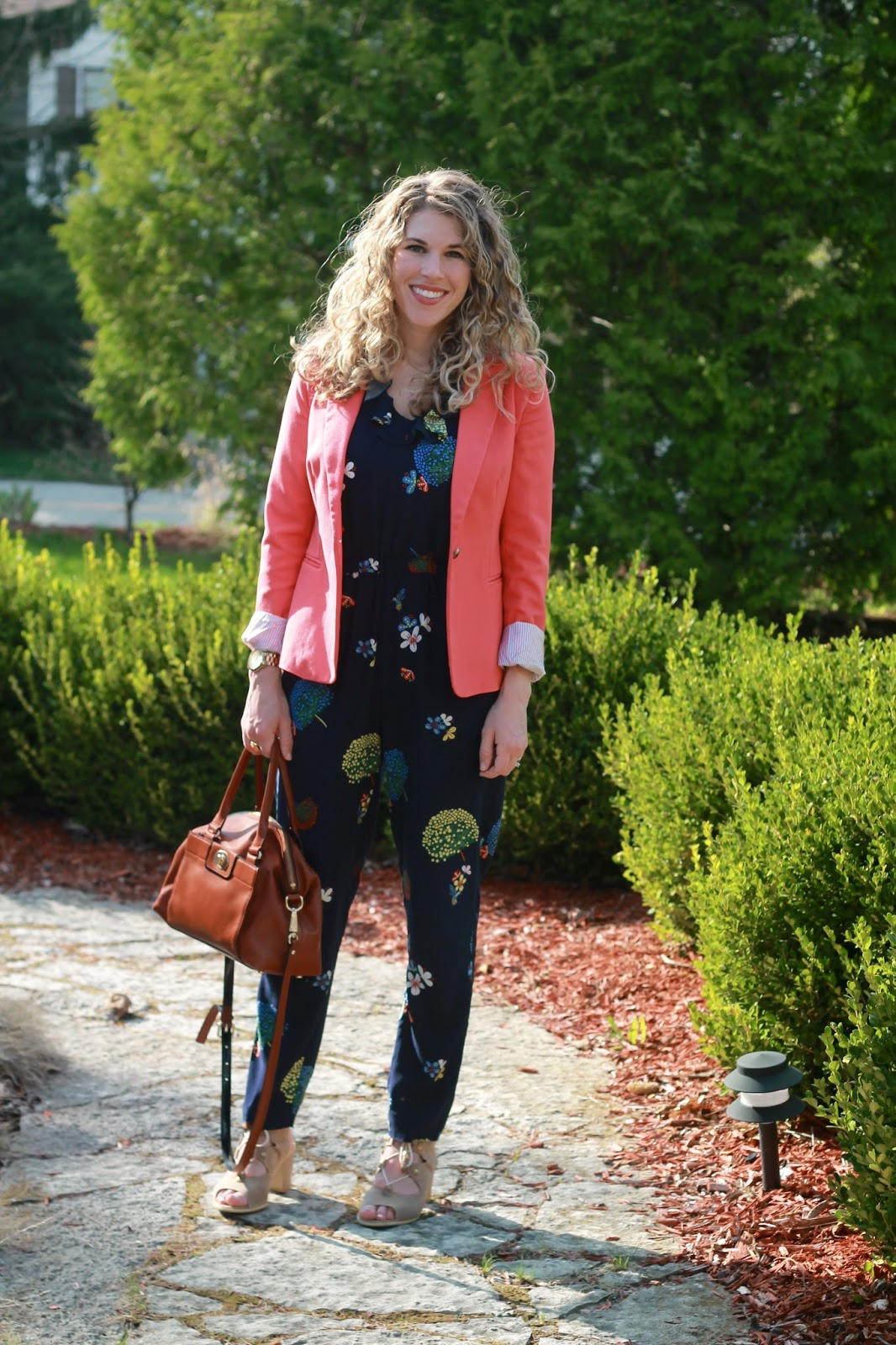 LOFT hummingbird jumpsuit, coral blazer, floral jumpsuit, LOFT purchases, shopping haul