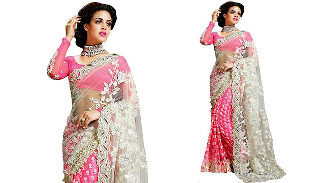 Zofey Self Design, Embroidered Bollywood Georgette, Net Saree  (Pink)