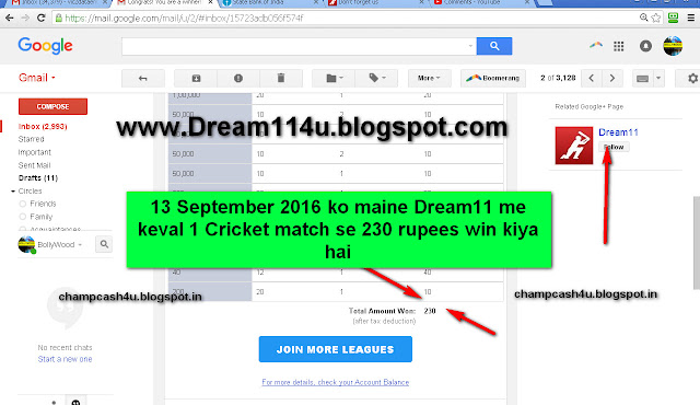 13 September 2016 ko maine keval 1 Dream11 Cricket match se 230 rupees earn kiya-see screenshot