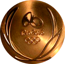 Rio 2016 Olympics gold medal showing off its brilliant sheen