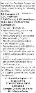 Lowongan Kerja PT. Hiprecision Engineering Indonesia