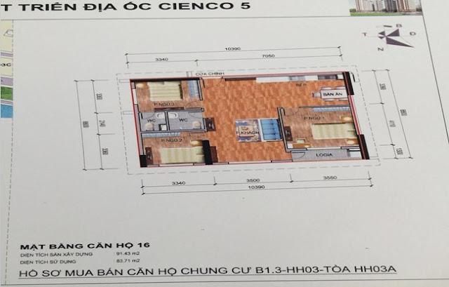 Sơ đồ thiết kế căn hộ 16 chung cư B1.3 HH03A Thanh Hà Cienco 5