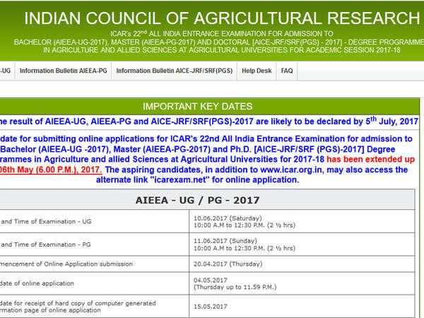 ICAR AIEEA UG, PG Results 2017: icarexam.net
