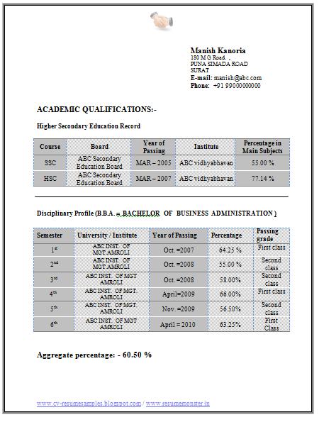 bba sample resume