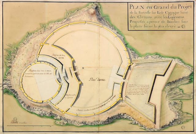 LA SAUVAGÈRE, Félix-François de - Plan en grand du projet de la forteresse sur lisle Cigogne, l'une des Glénans, avec les logemens proposés a preuve de bombes sous la platte forme la plus élevée. 1754. [coll. BnF)