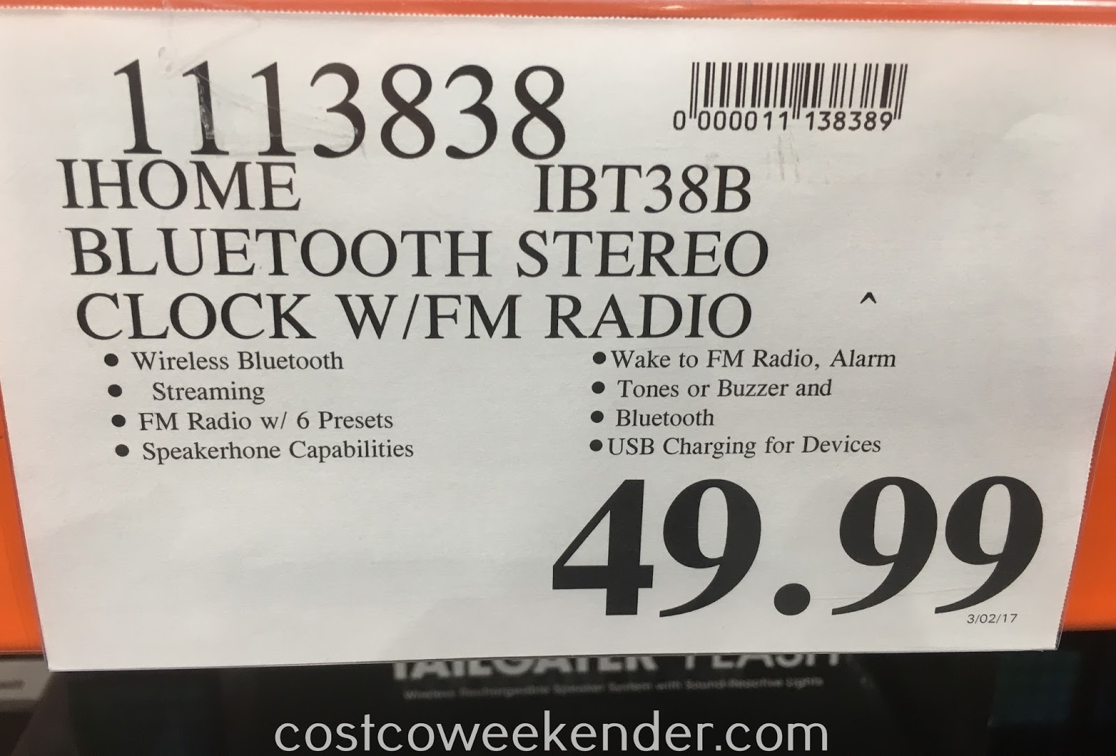Deal for the iHome iBT38B Dual Alarm Stereo Clock Radio + USB Charging at Costco