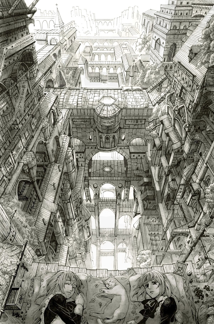 13-Sleeping-Mita-Mitauzo-実-田-く-ら-Intricate-Japanese-Architectural-Drawings-www-designstack-co