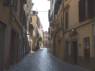 The Corso della Repubblica in Velletri is typical of the  narrow streets in the town near Rome where Tognazzi died