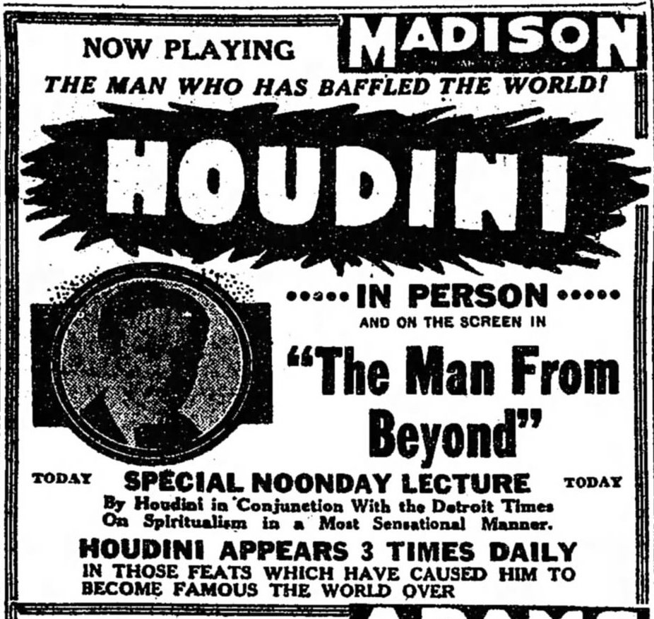 Wild about harry detroits last houdini theater of course the last theater in which houdini ever appeared was detroits garrick theater the garrick was torn down in 1928 1betcityfo Images