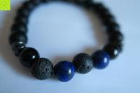 Farben: Gemdor Unisex Energiearmband Onyx Lavastein Armbandlänge ca. 16 - 21 cm in verschiedenen Ausführungen - Chakraarmband für Damen Edelsteinarmband Armband Damen Yoga