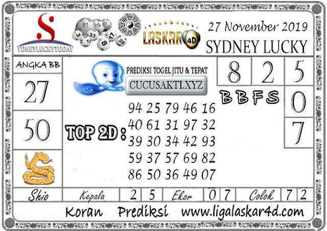 Prediksi Sydney Lucky Today LASKAR4D 27 NOVEMBER 2019