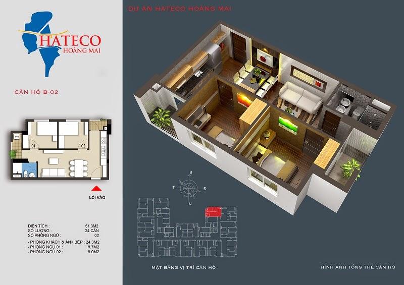 mặt bằng chung cư Hateco Hoàng Mai căn hộ B1502