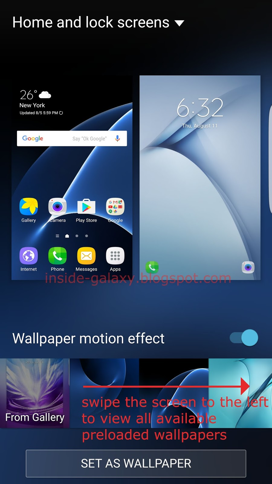 Swipe The Bottom Of Screen That Displays Wallpaper Thumbnails To Left View Available Pre Loaded Wallpapers