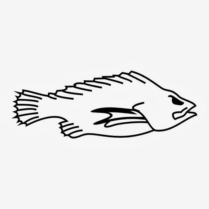 Fish tattoo stencil