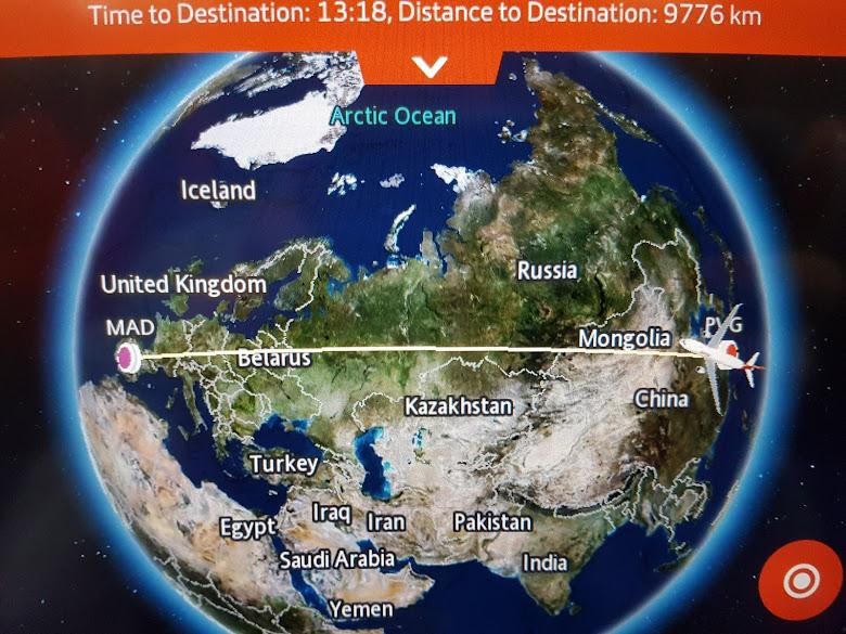 飛機預估軌跡,從上海到馬德里