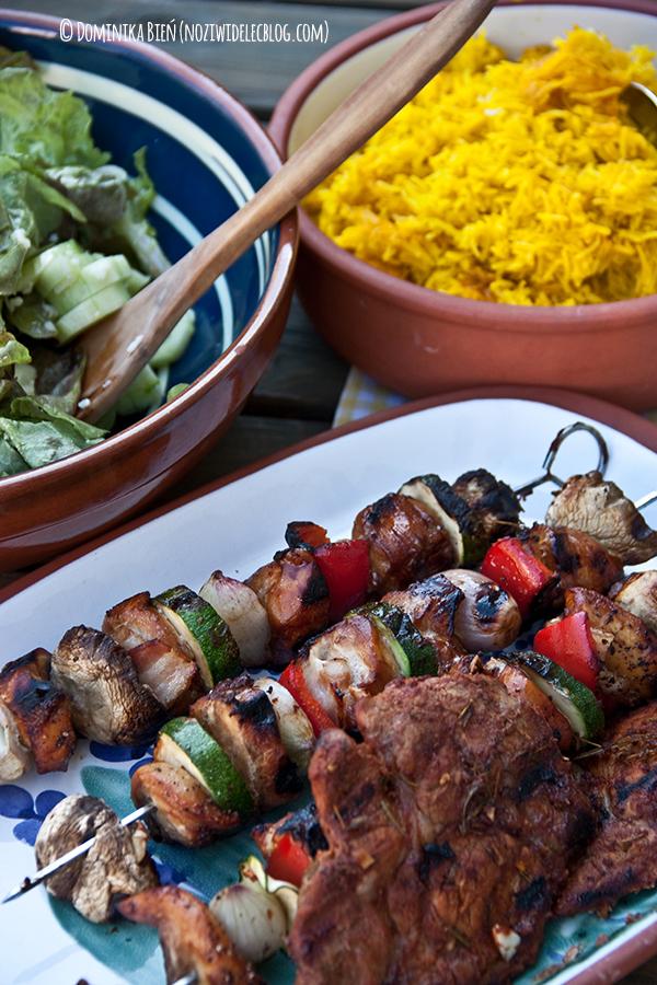 grill, karkówka, sos barbecue, kurczak
